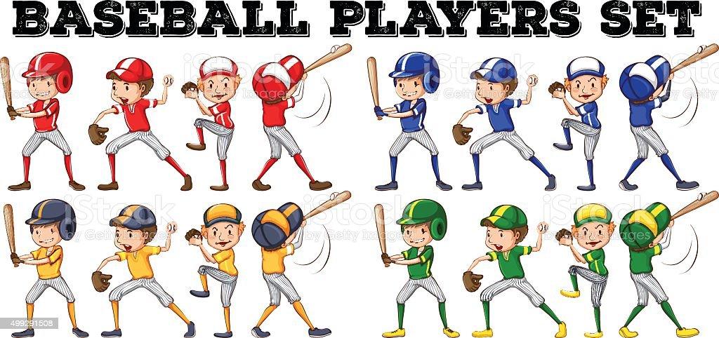 Baseball players  different positions vector art illustration