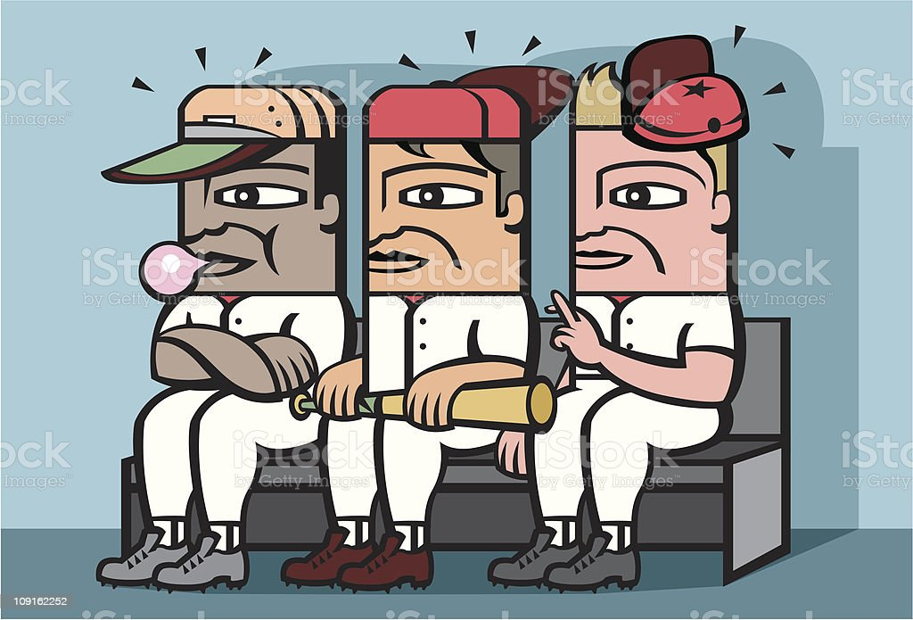 Baseball players on the bench vector art illustration