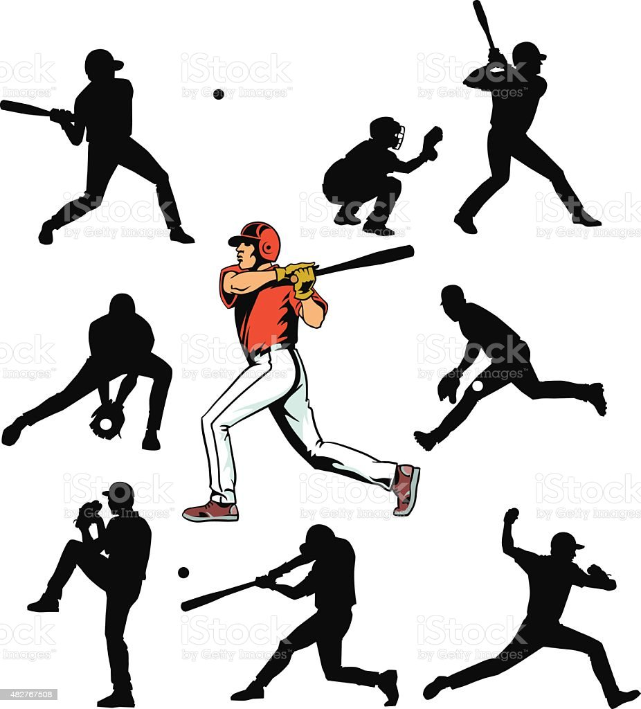 Baseball Players Set - Silhouettes and Color Drawing vector art illustration