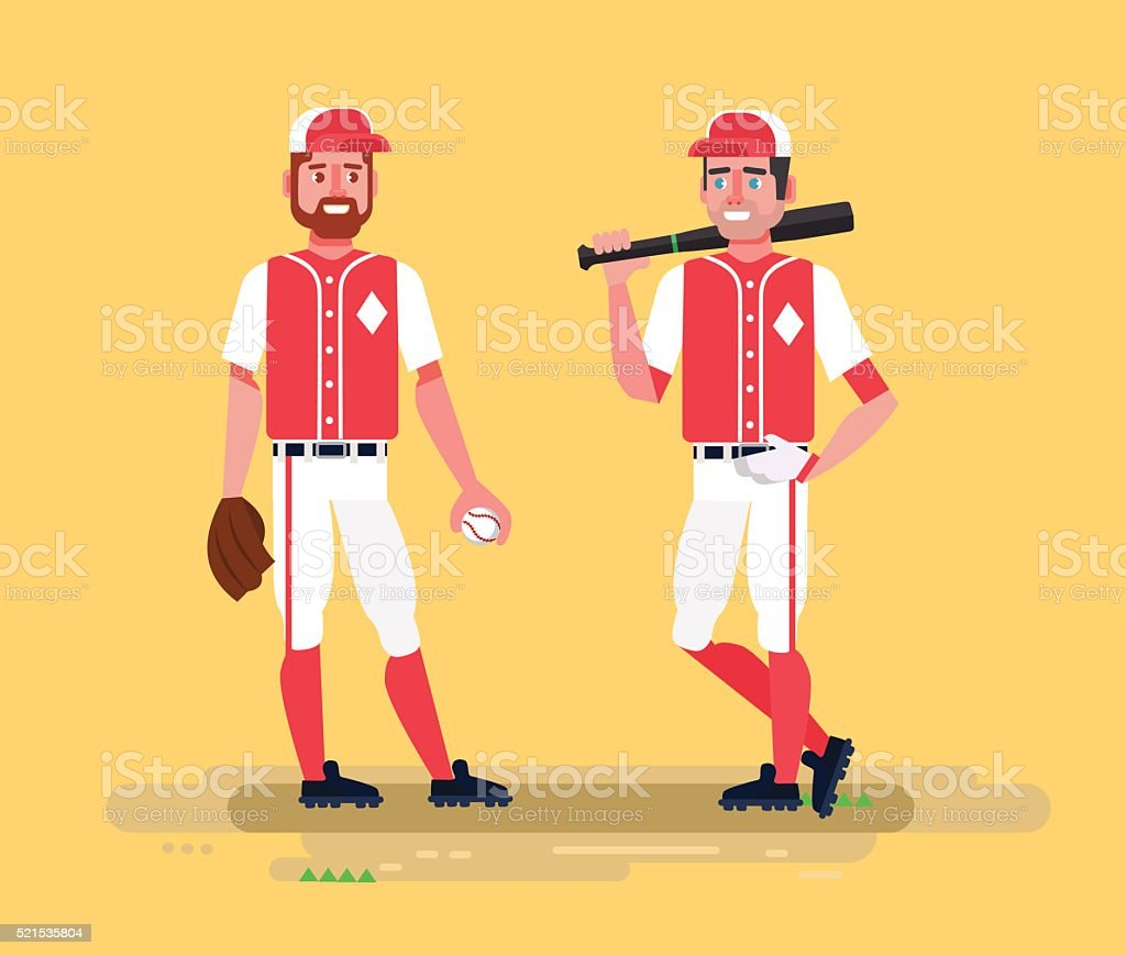 Baseball players. Vector flat cartoon illustration vector art illustration