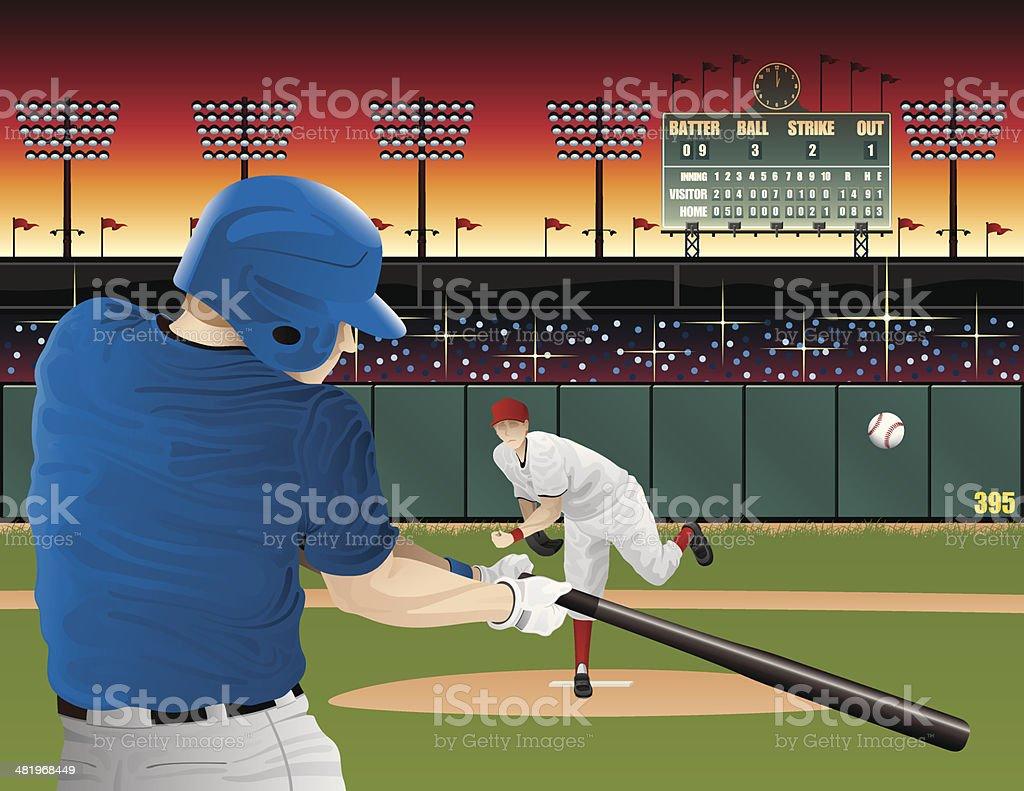 Baseball players with scoreboard royalty-free stock vector art