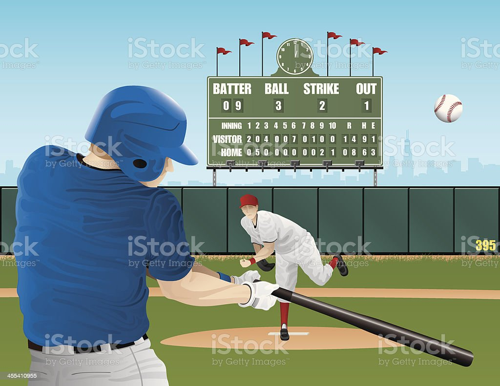 Baseball players with vintage scoreboard royalty-free stock vector art