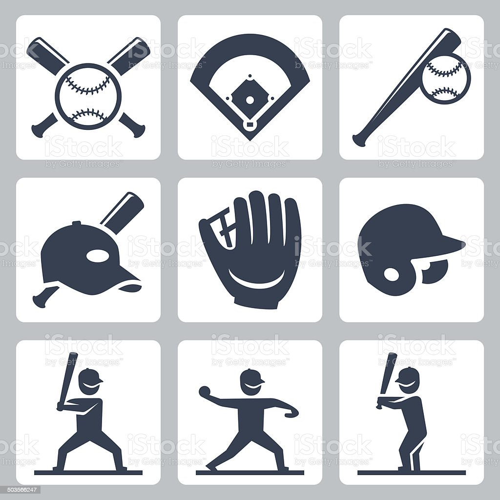 Baseball related vector icons set vector art illustration