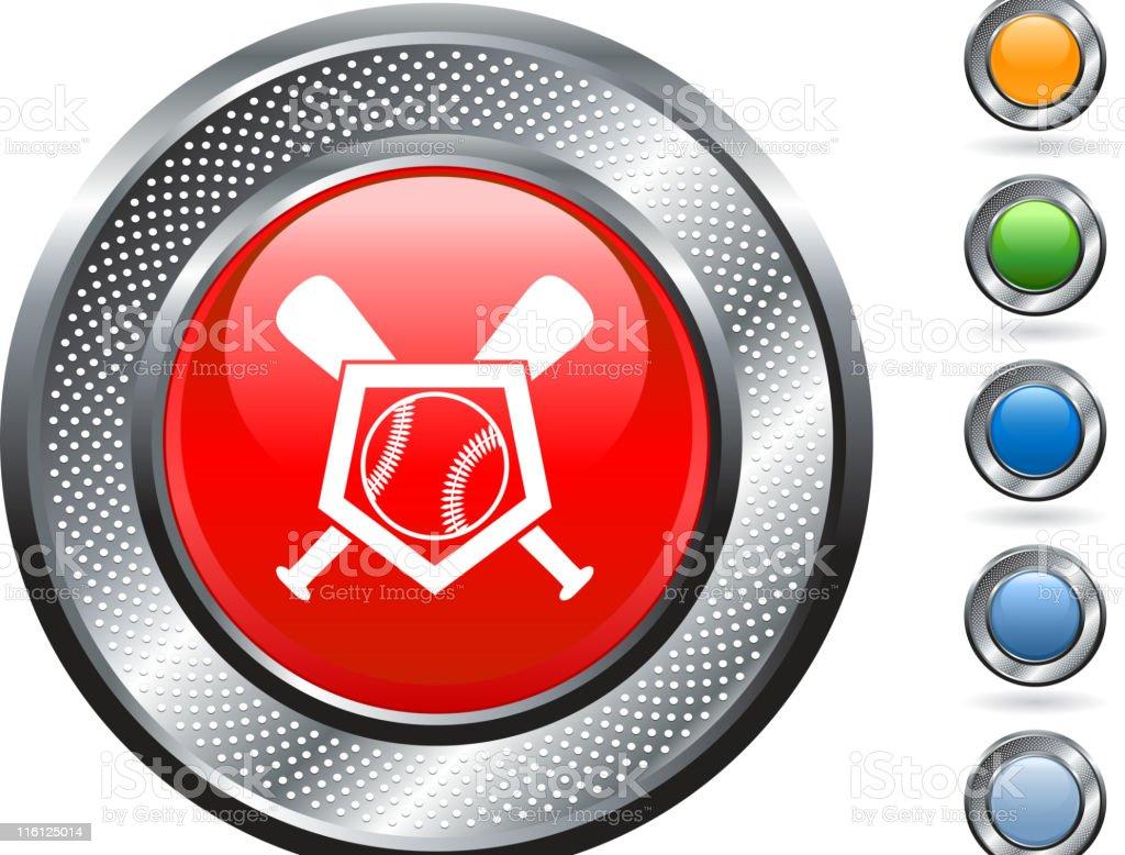 baseball royalty free vector art on metallic button royalty-free stock vector art