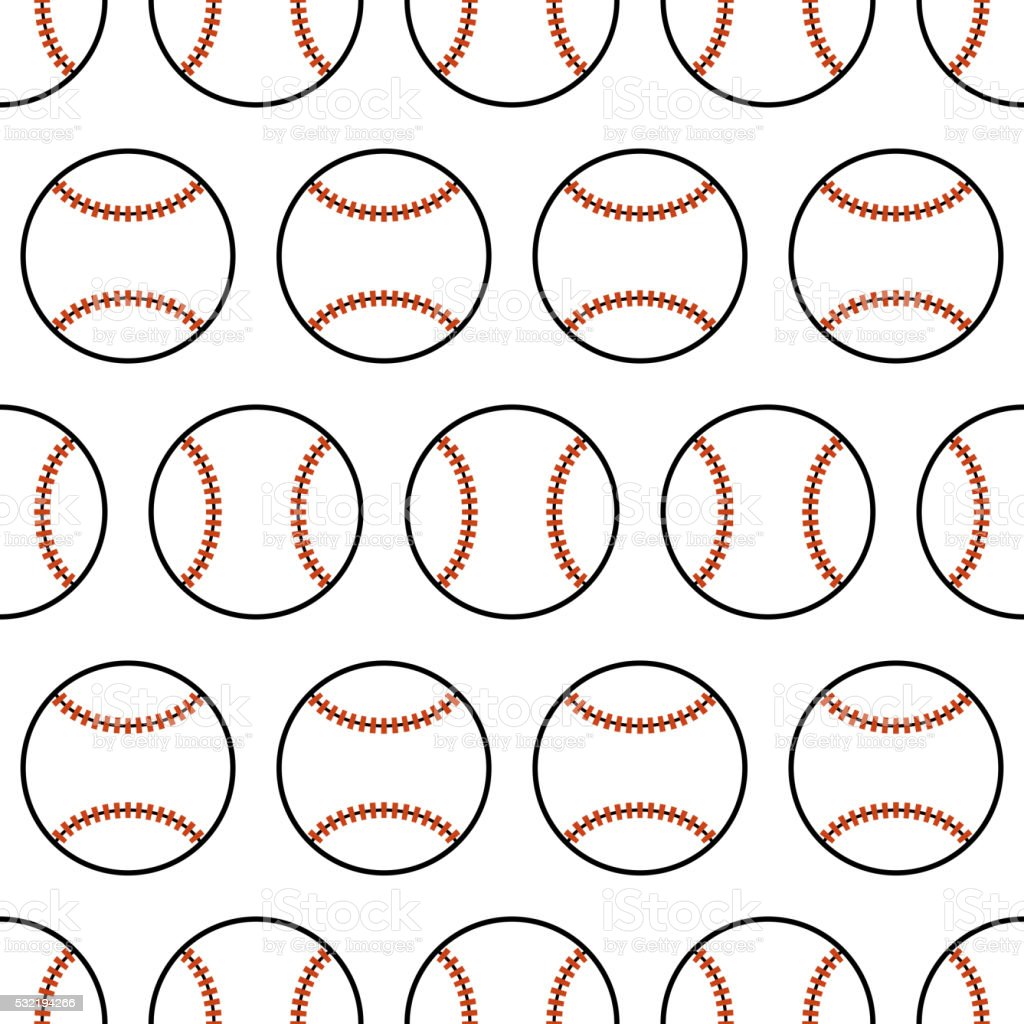 Baseball. Seamless pattern with sport balls. Vector vector art illustration