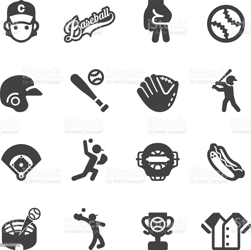 Baseball Silhouette icons | EPS10 vector art illustration