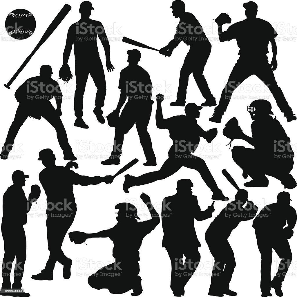 Baseball Silhouette Series vector art illustration