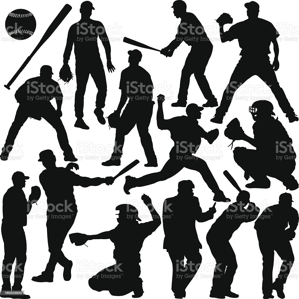 Baseball Silhouette Series vector art illustration
