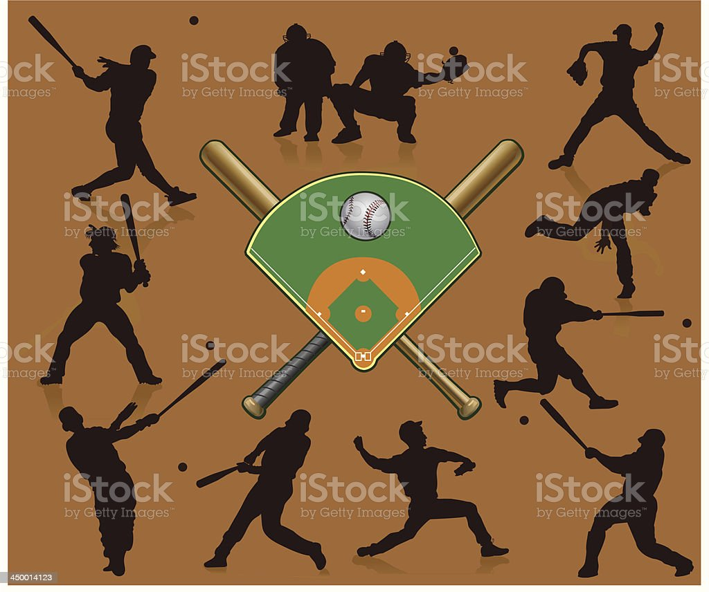 Baseball silhouettes in red royalty-free stock vector art