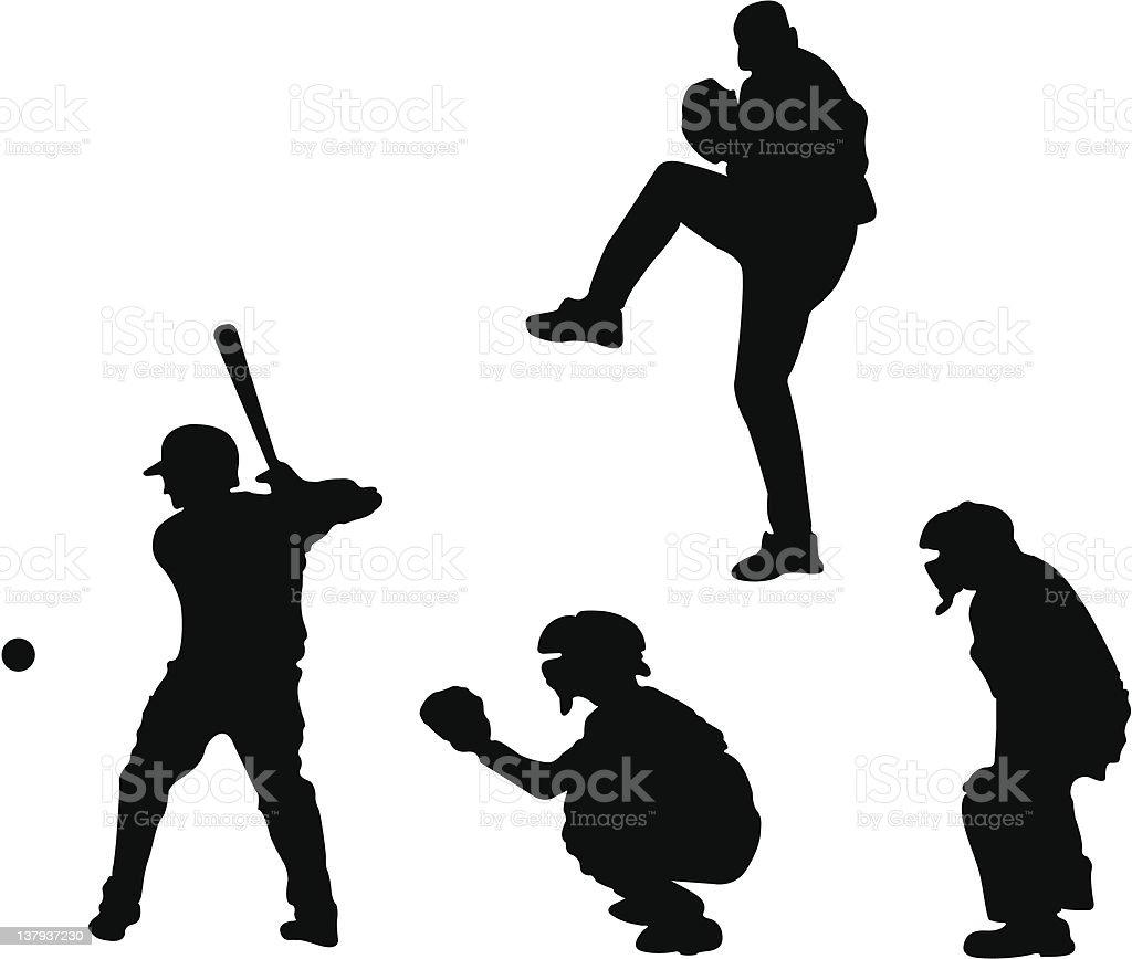 Baseball silhouettes (vector) vector art illustration
