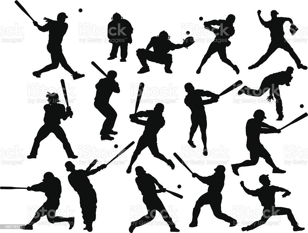 Baseball silhouettes vector art illustration