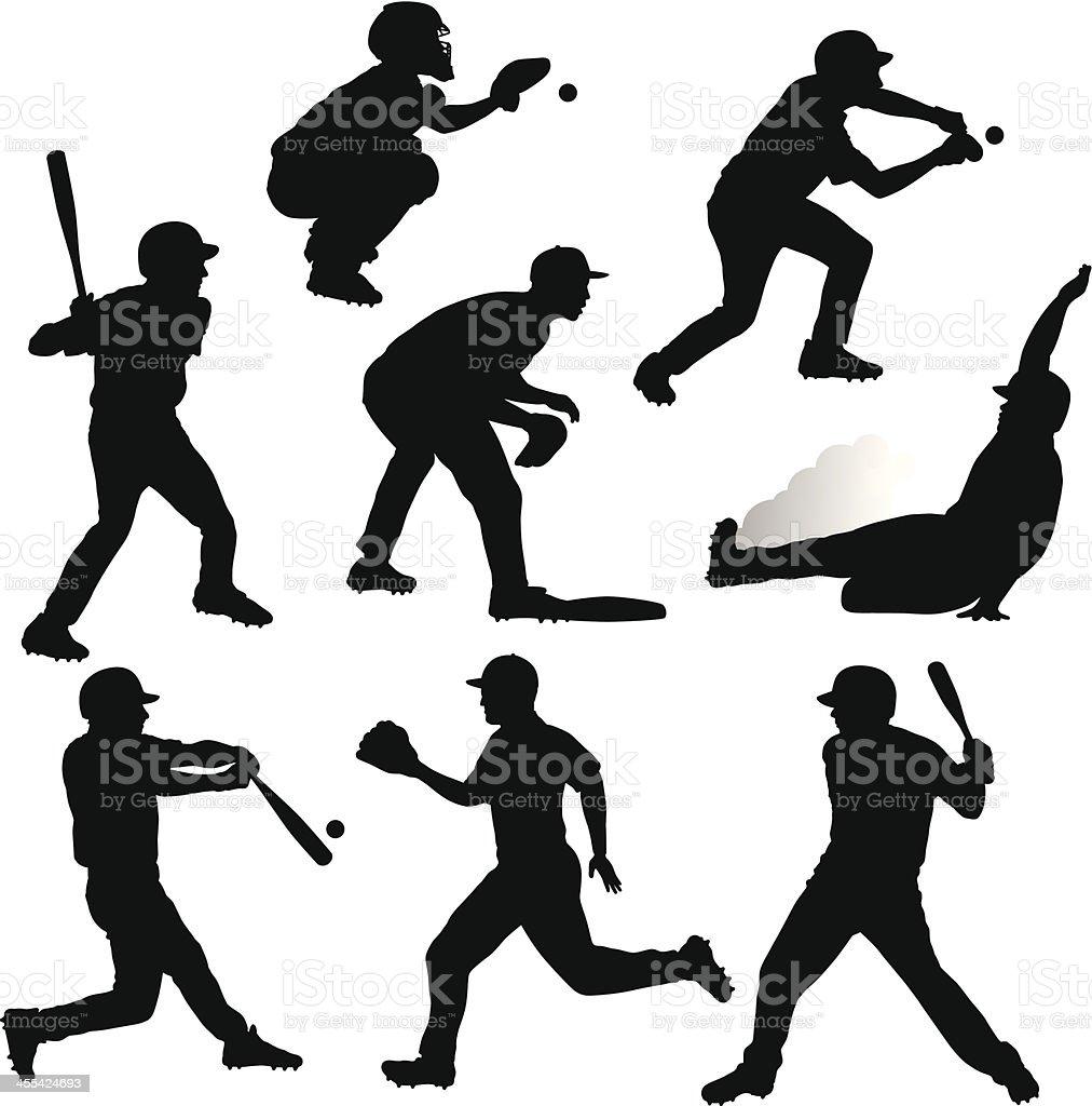 Baseball Silhouettes royalty-free stock vector art