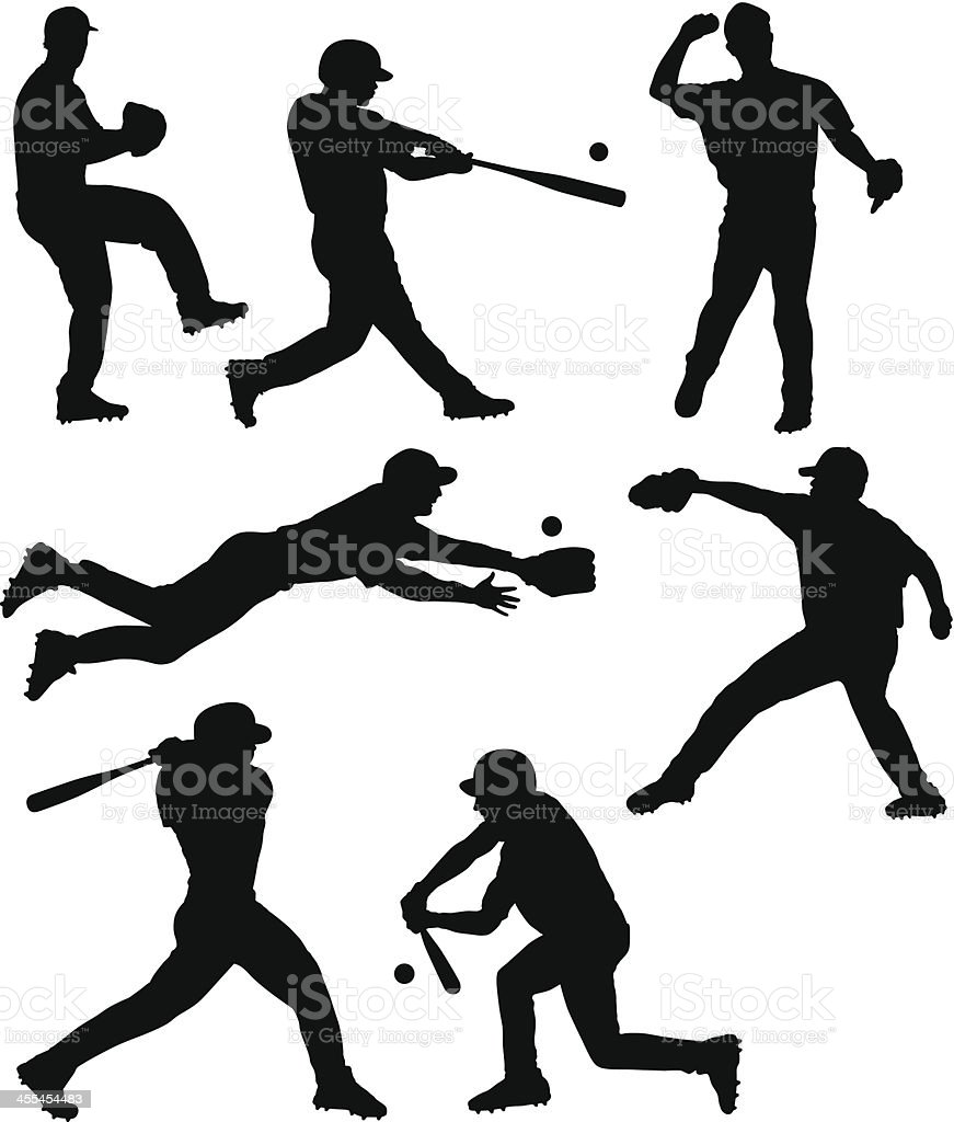 Baseball Silhouettes vector art illustration