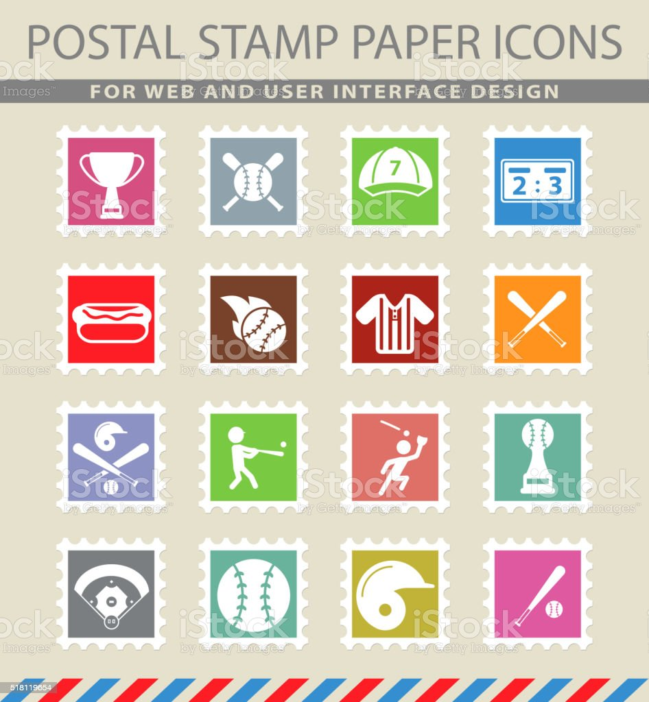 Baseball simply icons vector art illustration