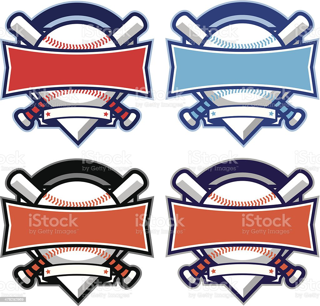 Baseball & Softball diamond banner with bats vector art illustration