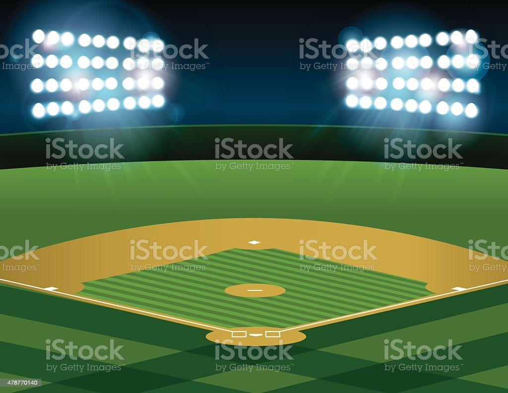 Baseball Softball Field Lit at Night vector art illustration