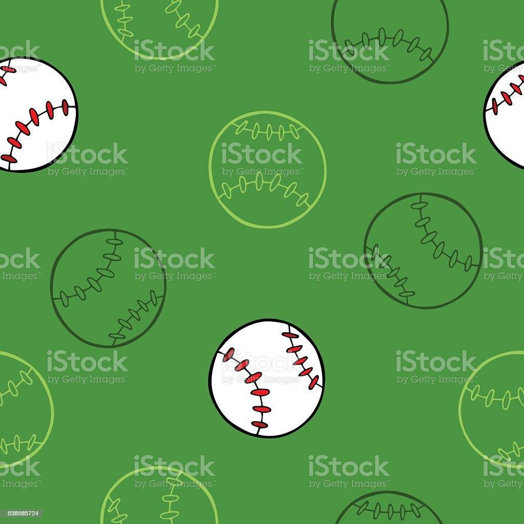 Baseball sport ball graphic art green background seamless pattern...