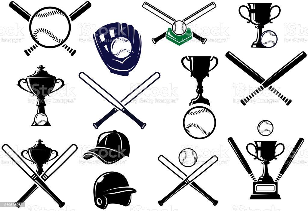 Baseball sports equipments set vector art illustration