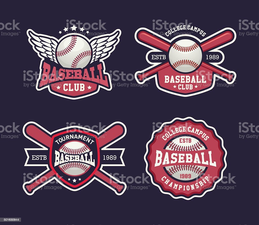 Baseball sports template with ball and bats, set badges template, set...