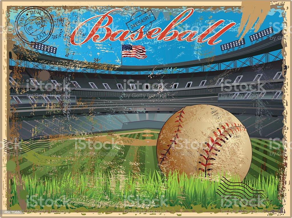 Baseball stadium and ball in a vintage postcard vector art illustration