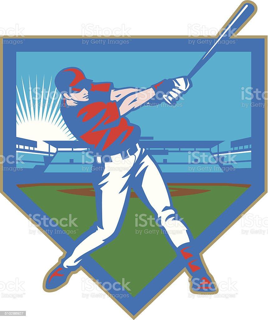 Baseball Stadium Batter vector art illustration