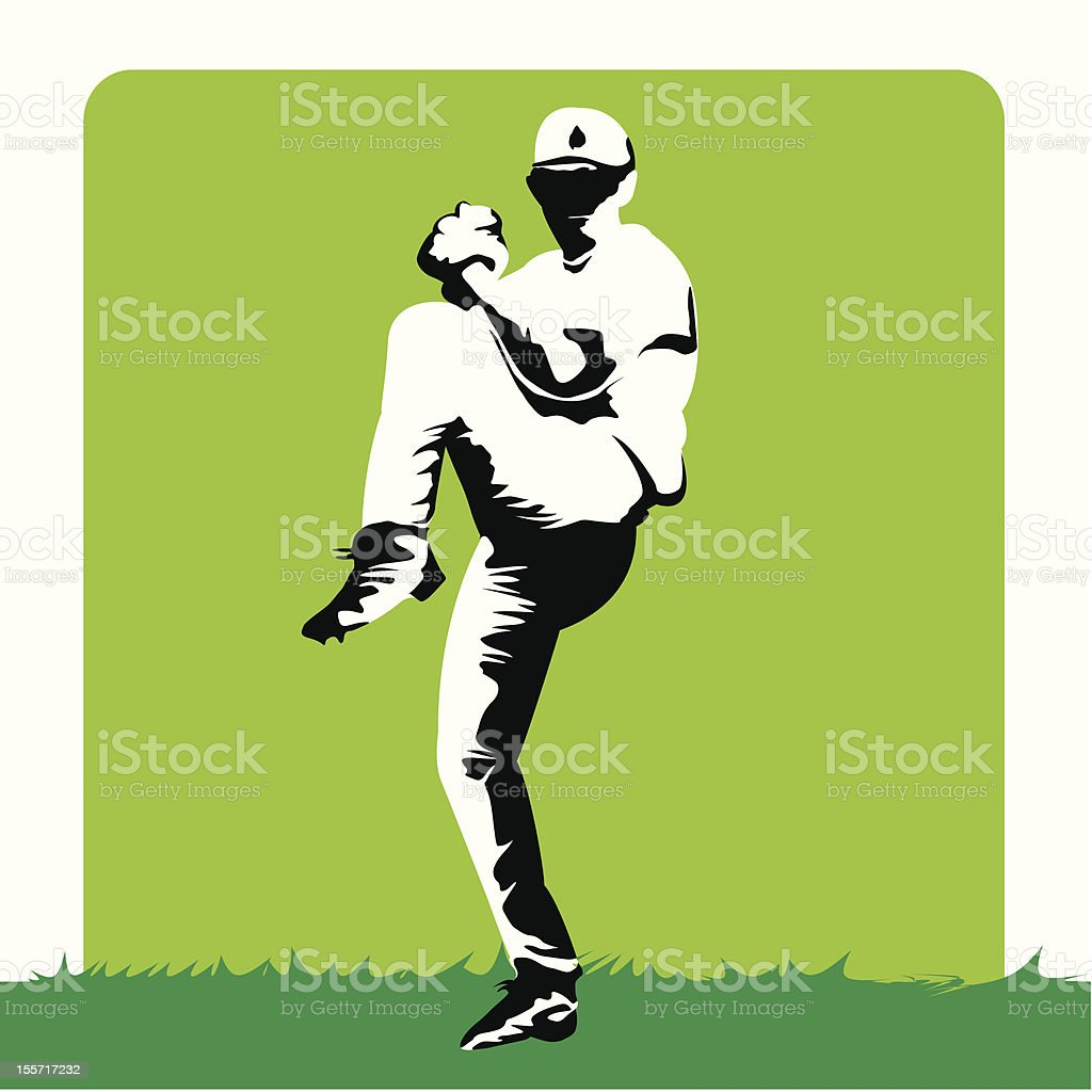 Baseball - Stylized pitcher royalty-free stock vector art