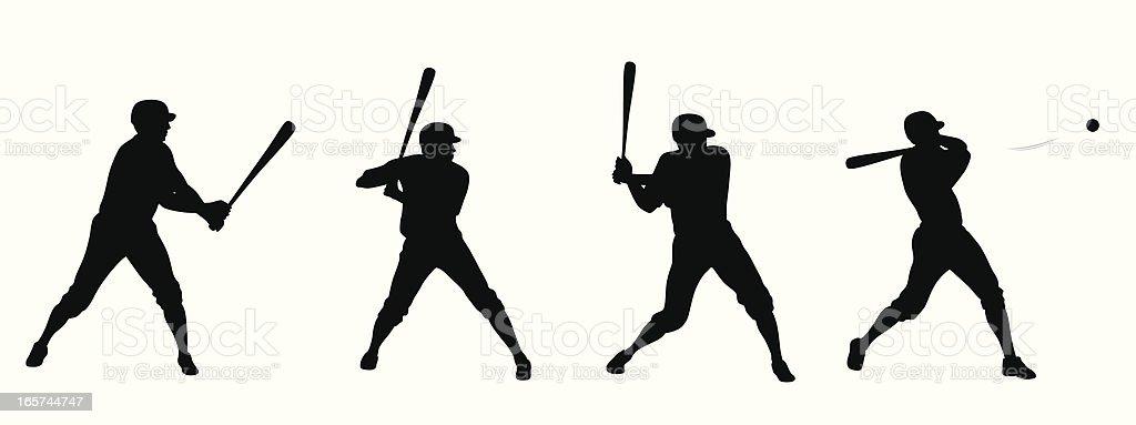 Baseball Swing Vector Silhouette vector art illustration