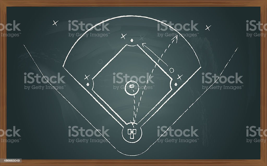 baseball tactic on board vector art illustration