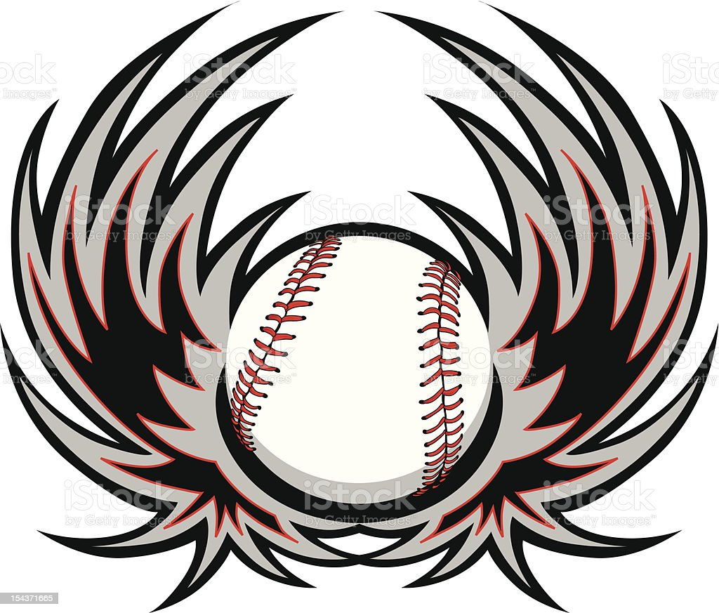 Baseball Template with Wings royalty-free stock vector art