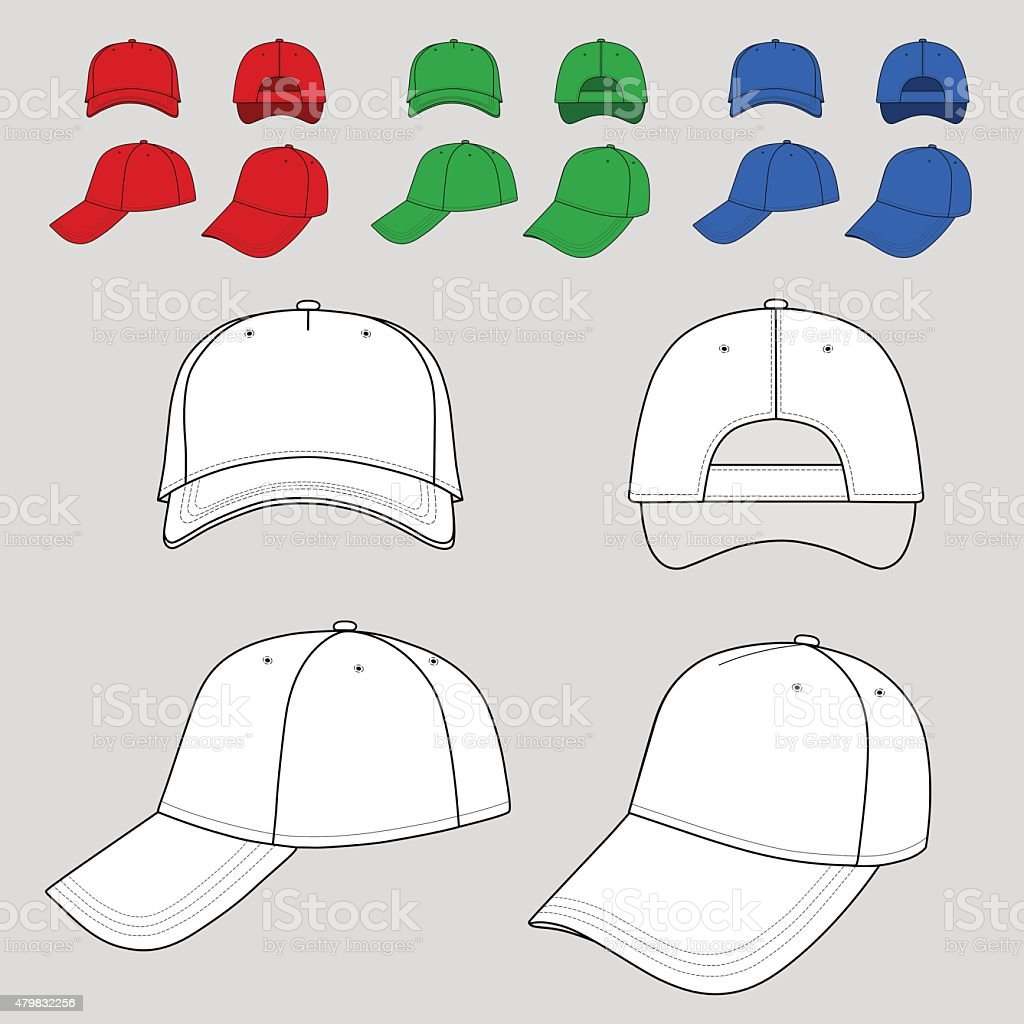Baseball, tennis cap outlined colored template vector art illustration