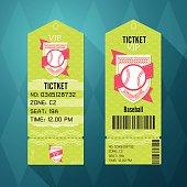Baseball Ticket Design Template Retro Style.