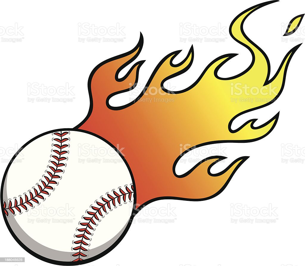 Baseball with Flames royalty-free stock vector art