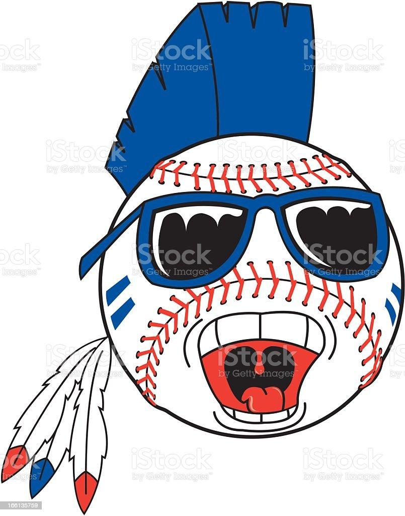 Baseball with Mohawk royalty-free stock vector art