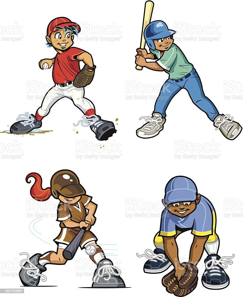 Baseball Youth League Players vector art illustration