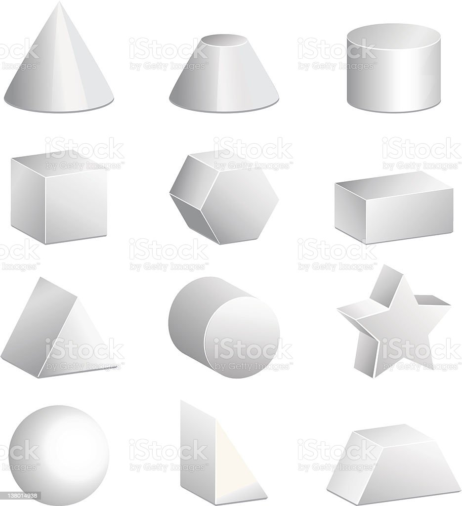 Basic 3d figures in vector royalty-free stock vector art