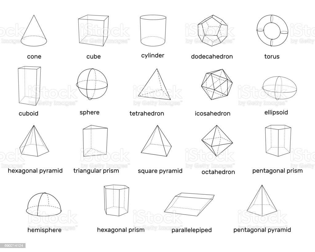 Basic 3d geometric shapes. Isolated on white background. Vector illustration. vector art illustration