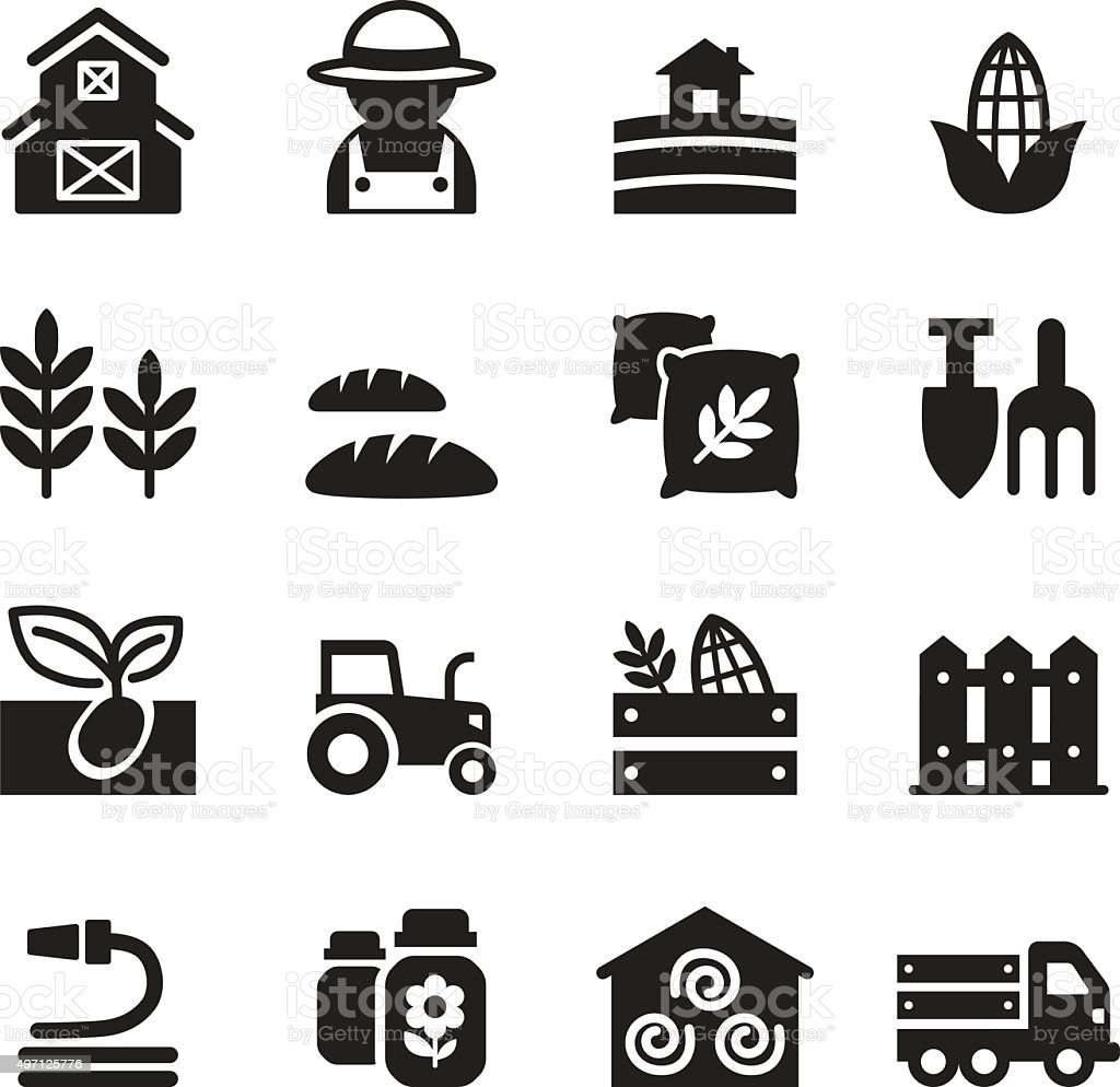 Basic Agriculture and Farming icons set vector art illustration