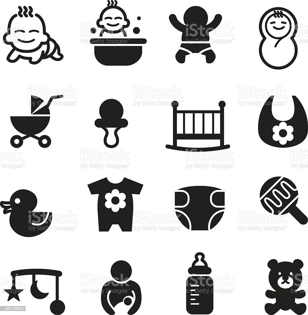Basic Baby icons set Vector illustration vector art illustration