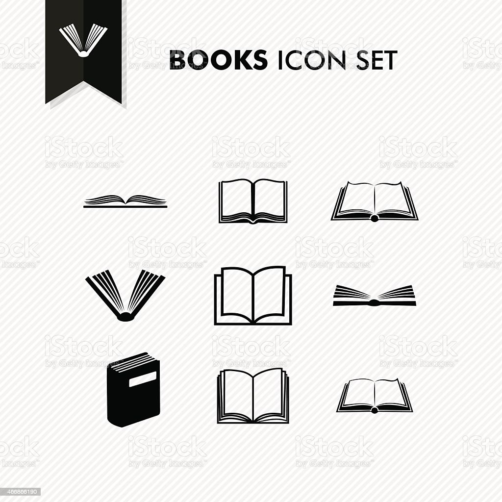 Basic Books icon set isolated vector art illustration