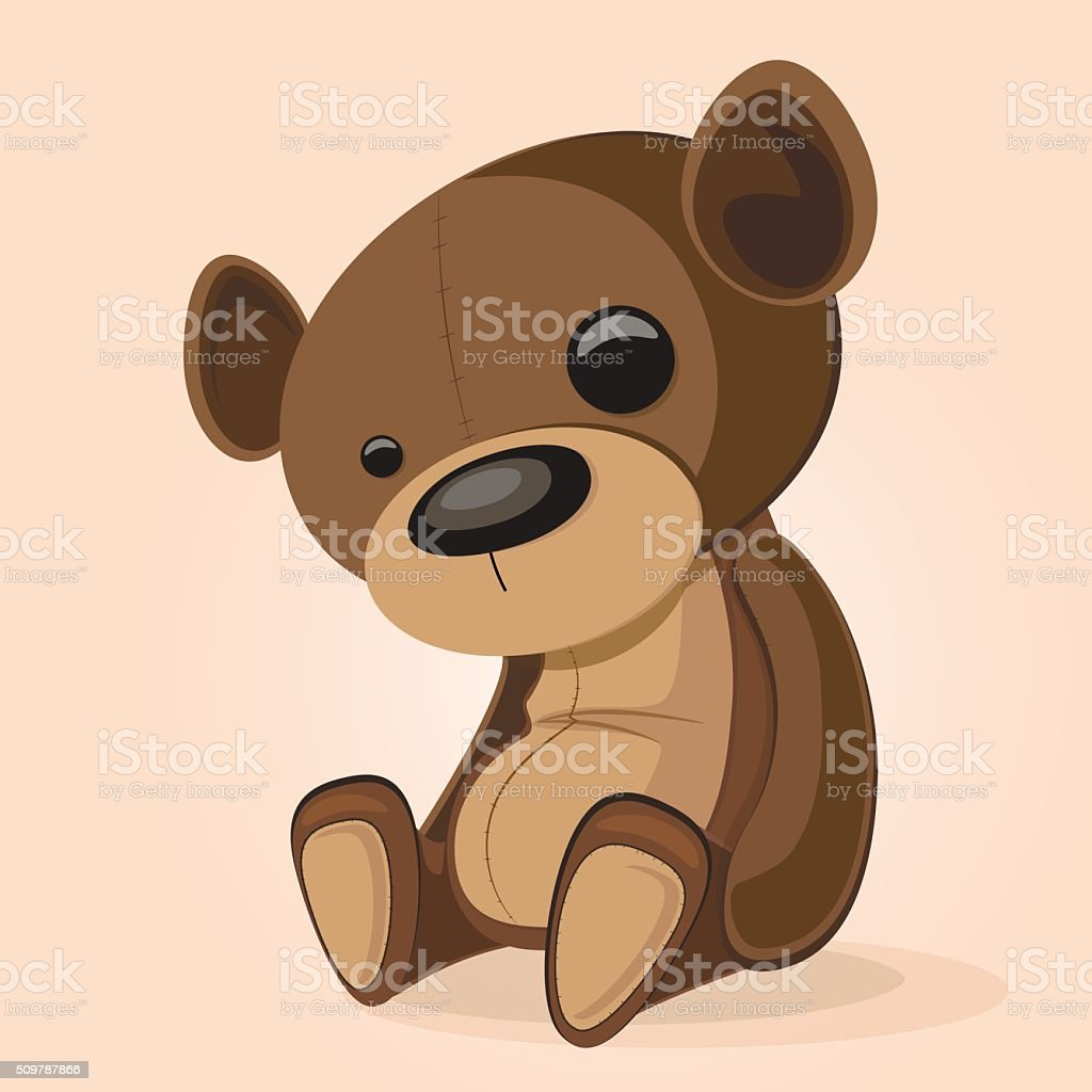 Basic brown teddy vector art illustration
