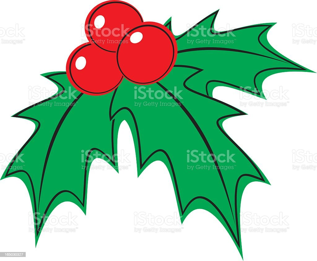 Basic Christmas Holly illustration royalty-free stock vector art