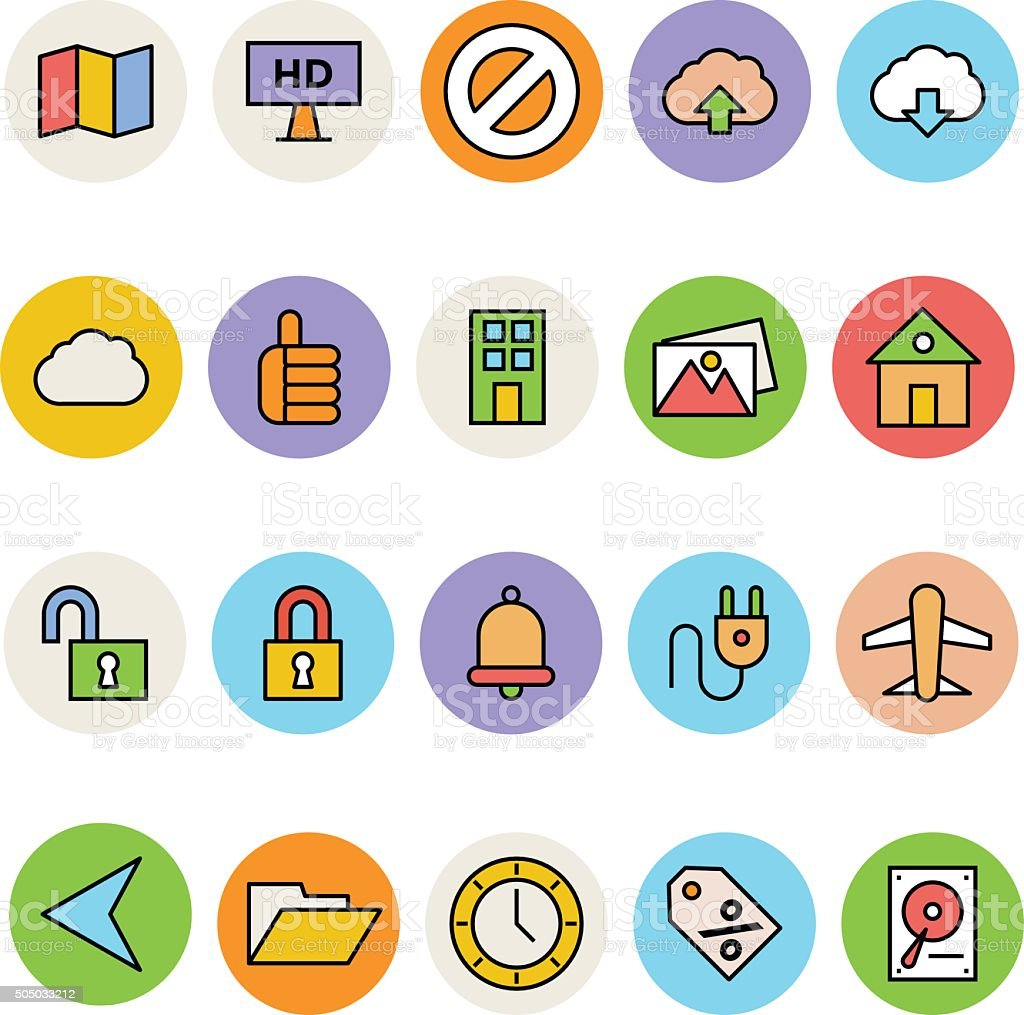 Basic Colored Vector Icons 13 vector art illustration