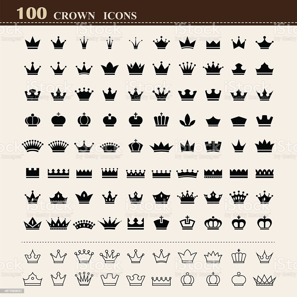 100 basic Crown icons set vector art illustration