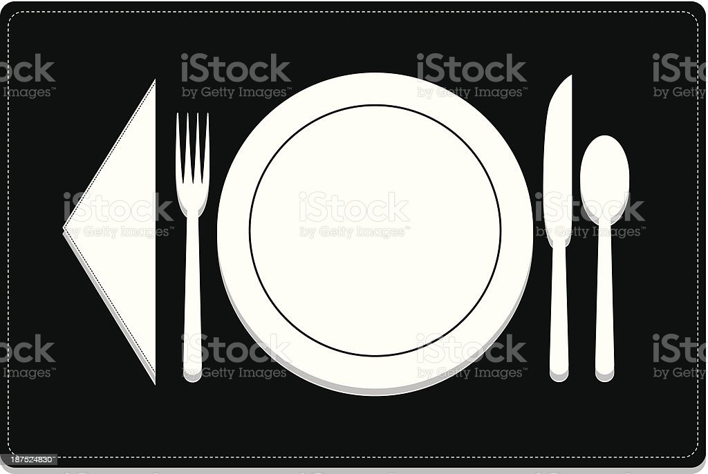 Basic Dinnerware Place Setting with Optional Placemat royalty-free stock vector art