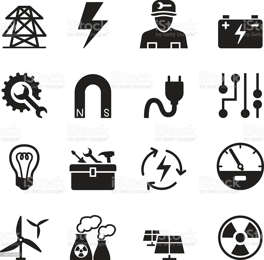 Basic Electricity icons set vector art illustration