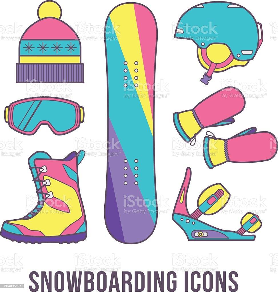 Basic equipment for snowboarding. vector art illustration