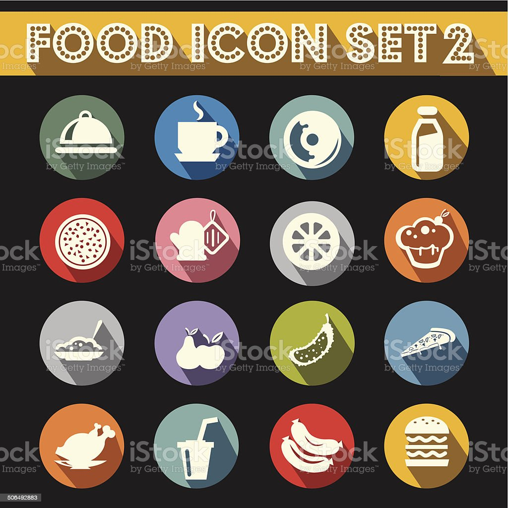 Basic Food Icons Vector Set 2 vector art illustration