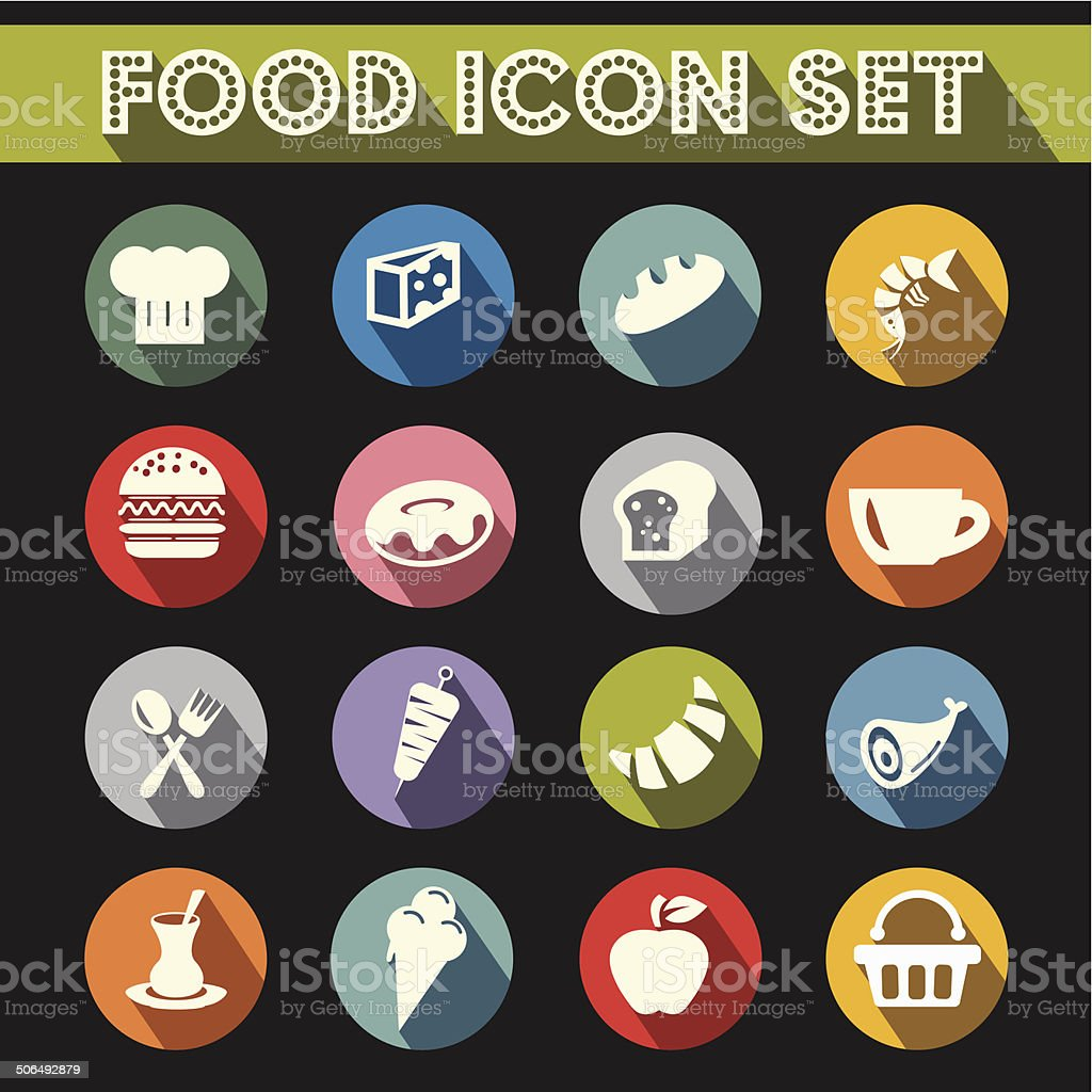 Basic Food Icons Vector Set vector art illustration