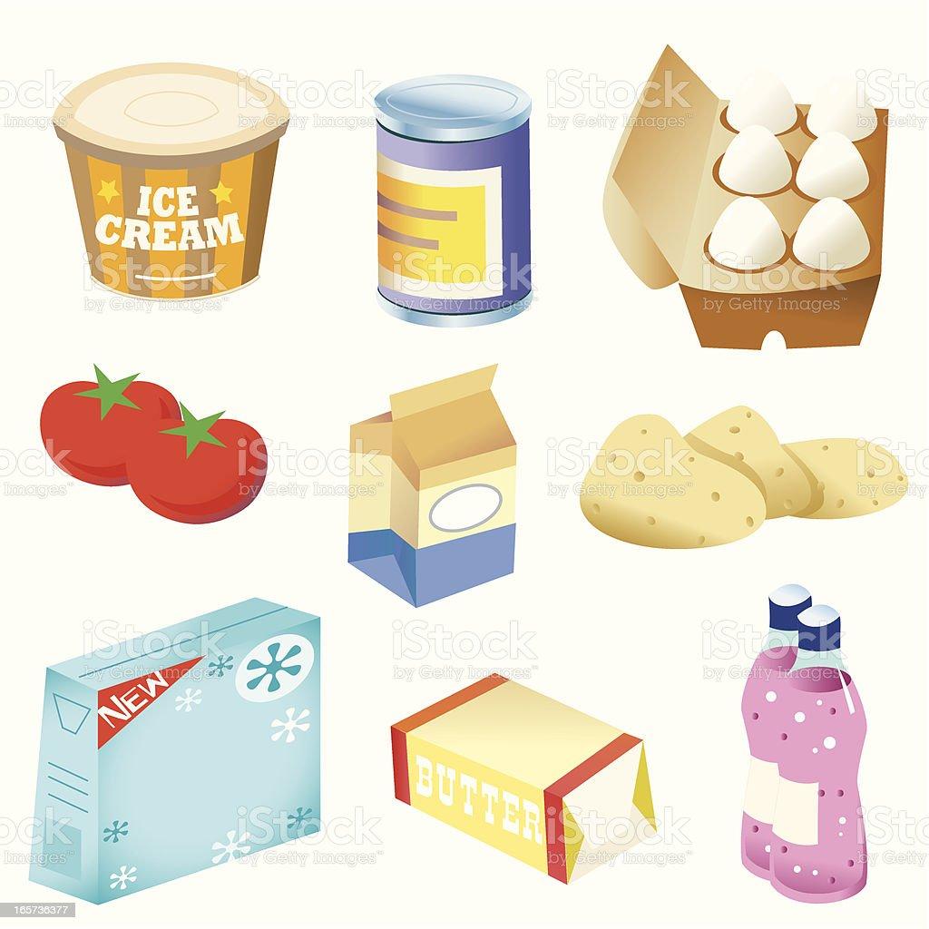 Basic foods vector art illustration
