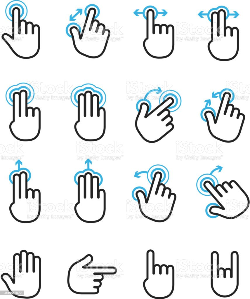 Basic human gestures using modern digital devices vector art illustration